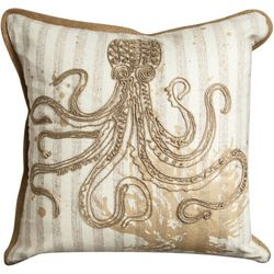 Manual Woodworkers Octopus Embroidered Decorative Pillow