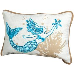 Mermaid Embroidered Decorative Pillow