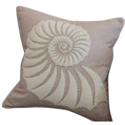 Embroidered Nautilus Shell Decorative Pillow