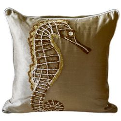 Embroidered Gold Seahorse Decorative Pillow