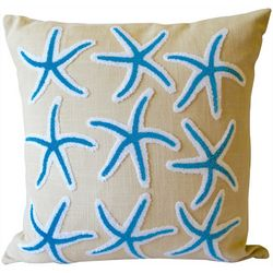 Coastal Home Embroidered 9 Starfish Decorative Pillow