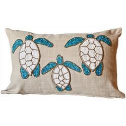 Beaded Sea Turtles Trio Decorative Pillow