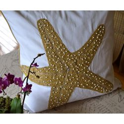 Debage Beaded Starfish Embroidered Bead Decorative Pillow