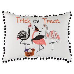 Halloween Night Trick Or Treat Flamingo Decorative Pillow