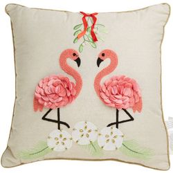 Holiday & Pet Flamingo Mistletoe Decorative Pillow