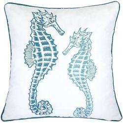 Homey Cozy Embroidered Velvet Seahorse Decorative Pillow