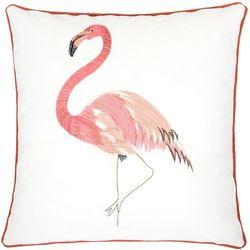 Homey Cozy Embroidered Velvet Flamingo Decorative Pillow