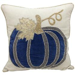 Beaded Harvest Pumpkin Decorative Pillow