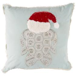 Sea Turtle Santa Hat Decorative Pillow