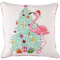 Brighten the Season Flamingo Holiday Tree Decorative Pillow