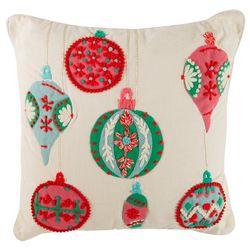 Brighten the Season Ornament Applique Decorative Pillow
