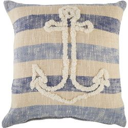 LR Resources Tufted Anchor & Stripe Decorative Pillow