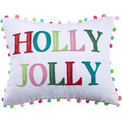 Holly Jolly Pom Pom Decorative Pillow