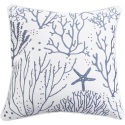 Saltwater Home Sea Life Embroidered Decorative Pillow