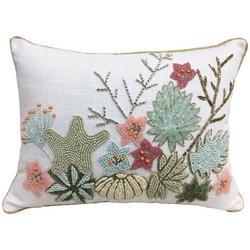 Beaded Coral Sea Life Decorative Pillow