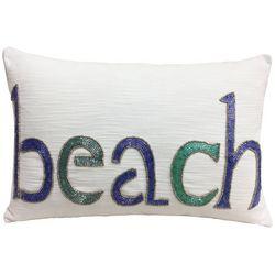 Coastal Home Beach Beaded Decorative Pillow