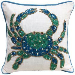 Coastal Home Beaded Blue Crab Decorative Pillow