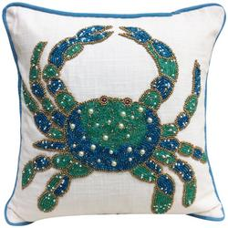 Beaded Blue Crab Decorative Pillow
