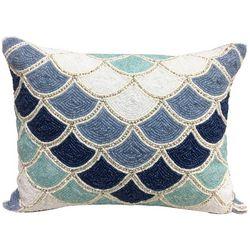 Coastal Home Scalloped Beaded Decorative Pillow