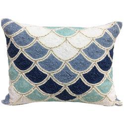Scalloped Beaded Decorative Pillow