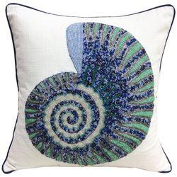 Coastal Home Beaded Nautilus Shell Decorative Pillow