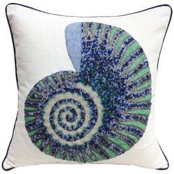 Beaded Nautilus Shell Decorative Pillow