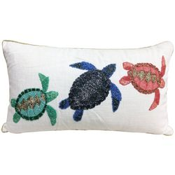 Coastal Home Sea Turtle Trio Beaded Decorative Pillow
