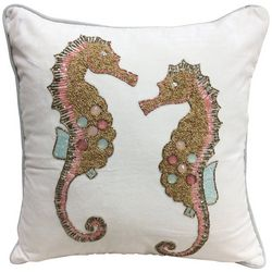 Coastal Home Beaded Seahorse Duo Decorative Pillow