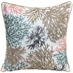 Coastal Home Beaded Coral Reef Decorative Pillow