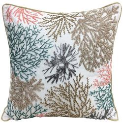 Beaded Coral Reef Decorative Pillow