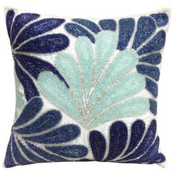 Coastal Home Beaded Fan Leaf Decorative Pillow