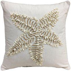 Coastal Home Shell Beaded Starfish Decorative Pillow