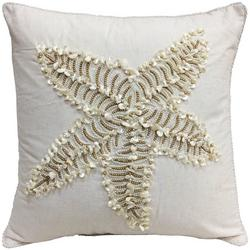 Shell Beaded Starfish Decorative Pillow