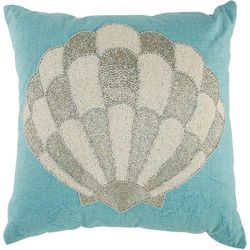 Coastal Home Beaded Shell Decorative Pillow