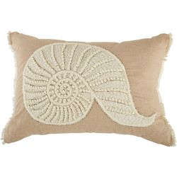Coastal Home Embroidered Nautilus Decorative Pillow
