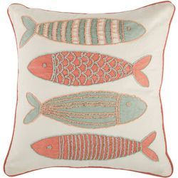 Coastal Home Beaded Fishes Decorative Pillow