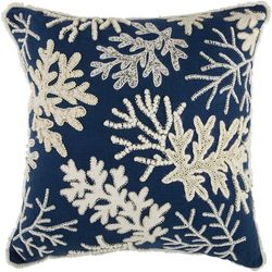Coastal Home Beaded Coral Decorative Pillow