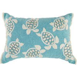 Coastal Home Embroidered Sea Turtle Fringe Decorative Pillow