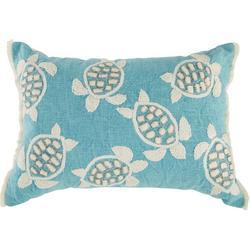 Embroidered Sea Turtle Fringe Decorative Pillow
