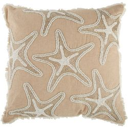 Coastal Home Beaded Starfish Decorative Pillow