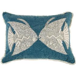 Embroidered Tropical Fish Decorative Pillow