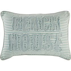 Coastal Home Embroidery Beach House Stripe Decorative Pillow