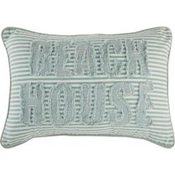 Embroidery Beach House Stripe Decorative Pillow