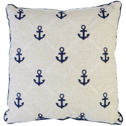 Enchante Anchor Embroidered Decorative Pillow