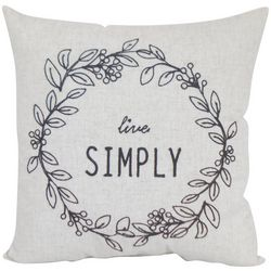 Live Simply Wreath Decorative Pillow