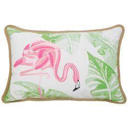 Arlee Watercolor Flamingo Leaf Decorative Pillow