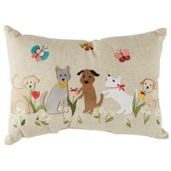Spring Dog Embroidered Decorative Pillow