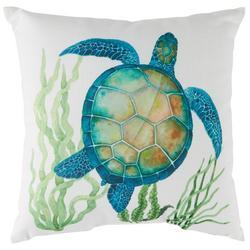 Watercolor Sea Turtle Seaweed Decorative Pillow