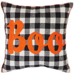 Boo Checkered Decorative Pillow