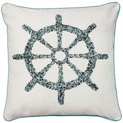Satvik Ship Wheel Beaded Decorative Pillow